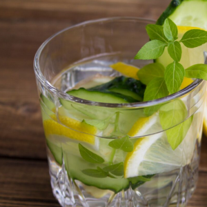 Water with lemon and cucumber
